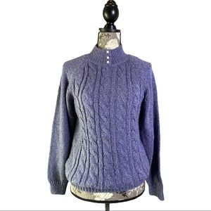 Purple Mock Neck Pearl Buttons Cable Knit sweater